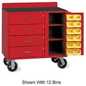 Vari-Tuff Mobile Utility Bin Cabinet with 4 Drawers and 24 Bins - 46x21x35