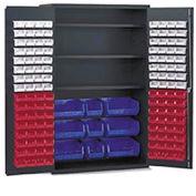 Vari-Tuff Jumbo Bin & Shelf Cabinet - 4 Shelves 137 Colored Bins