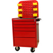 """Valley Craft, 24""""W Mobile Cabinet, 24""""W x 21""""D x 33""""H, Red"""