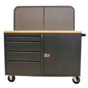 "Valley Craft, 48""W Modular Mobile Cabinet, 8 Drawers, (2) 3"", (4) 6"", (2) 9"" Heights, Gray"
