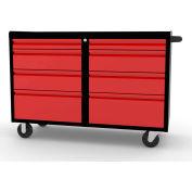 "Valleycraft® Collectors Edition Garage 48"" Work Bench Cabinet - 2 sets of 4 Drawers, BK/Red"