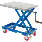 Mobile Hand Crank Mechanical Scissor Lift Table CART-330-M 330 Lb. Capacity - 27 x 17 Platform