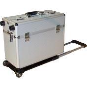 """Vestil CASE-EH Aluminum Pilot Case With Trolley Handle  19""""L x 10""""W x 14""""H, Silver"""