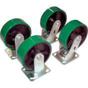 "Vestil 8"" x 2"" Poly-On-Steel Caster Kit D-CK4-PU8-2 for Vestil Hopper - 5000 Lb. Cap."