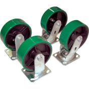 "8"" x 2"" Poly-On-Steel Caster Kit D-CK4-PU8-2 for Hopper - 5000 Lb. Cap."