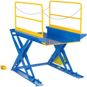 """Ground Lift Powered Scissor Table with Handrails 52"""" x 84"""" - 3000 Lb. Capacity"""