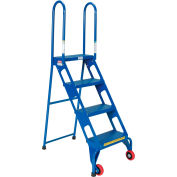Folding Step Ladder With Wheels - 4 Steps - FLAD-4