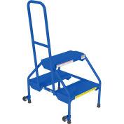 Rolling Two Step Ladder - Perf Steel - RLAD-P-2-B