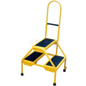 Rolling Two Step Ladder - Perf Steel - RLAD-P-2-Y