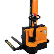 Fully Powered Narrow Mast Stacker SNM3-43-AA with Adj. Forks and Straddle Legs - 3000 Lb. Capacity