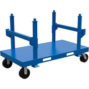 "Heavy Duty Steel Stackable Material Cart 71"" x 39"" x 45"", Blue, 5000lb Capacity"