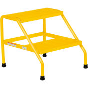 Vestil Aluminum Yellow Wide Step Stand - 2 Step Welded - SSA-2W-Y