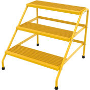 Vestil Aluminum Yellow Wide Step Stand - 3 Step Welded - SSA-3W-Y