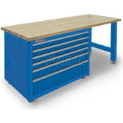 Versatility Turret Tooling Work Bench w/Hard Maplewood Top, 6 Drawers