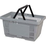 VersaCart® Plastic Shopping Basket 28 Liter with Nylon Handle 206-28L - Lt Grey - Pkg Qty 12