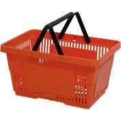 VersaCart® Plastic Shopping Basket 28 Liter with Nylon Handle 206-28L - Orange - Pkg Qty 12