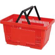 VersaCart® Plastic Shopping Basket 28 Liter With Nylon Handle 206-28L - Red - Pkg Qty 12