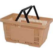 VersaCart® Plastic Shopping Basket 28 Liter with Nylon Handle 206-28L - Tan - Pkg Qty 12