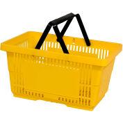 VersaCart® Plastic Shopping Basket 28 Liter with Nylon Handle 206-28L - Yellow - Pkg Qty 12