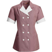 Red Kap® Double-Breasted Lapel Tunic Short Sleeve Burgundy Pincord Regular-XS - 9S03