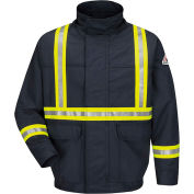 EXCEL FR® ComforTouch FR Lined Bomber Jacket W/CSA Reflective Trim JLJC, Navy, Size 5XL Reg