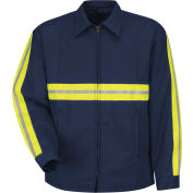 Red Kap® Enhanced Visibility Perma-Lined Panel Jacket, Navy, Polyester/Cotton, Regular, 2XL
