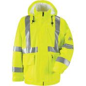 Bulwark® Hi-Visibility Flame-Resistant Rain Jacket HRC2, Class 3, Yellow, XL