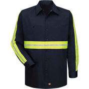 Red Kap® Enhanced Visibility Long Sleeve Work Shirt, Navy with Yellow/Green Trim, Tall, 2XL