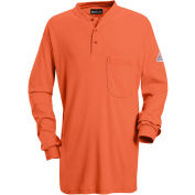 EXCEL FR® Flame Resistant Long Sleeve Tagless Henley Shirt SEL2, Orange, Size 3XL Regular