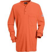 EXCEL FR® Flame Resistant Long Sleeve Tagless Henley Shirt SEL2, Orange, Size L Regular
