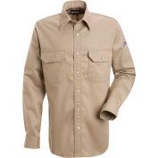 EXCEL FR® Flame Resistant Snap-Front Uniform Shirt SES2, Tan, Size XXL Regular
