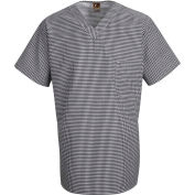 Chef Designs Checked V-Neck Chef Shirt, Black & White Check, Polyester/Cotton, S