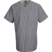 Chef Designs Checked V-Neck Chef Shirt, Black & White Check, Polyester/Cotton, XL