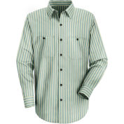 Red Kap® Men's Industrial Stripe Work Shirt Long Sleeve Green/Khaki Stripe Regular-3XL SP10