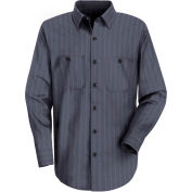 Red Kap® Men's Industrial Stripe Work Shirt Long Sleeve Blue Brown/White Stripe Reg-2XL SP10