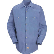 Red Kap® Men's Geometric Micro-Check Work Shirt Denim Blue Microcheck Regular-L SP14 -SP14DNRGL