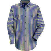 Red Kap® Men's Industrial Stripe Work Shirt Long Sleeve Navy/Khaki Stripe Long-M SP14