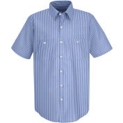 Red Kap® Men's Industrial Stripe Work Shirt Short Sleeve GM Blue/White Stripe Long-3XL SP20