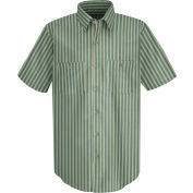 Red Kap® Men's Industrial Stripe Work Shirt Short Sleeve Green/Khaki Stripe L SP20