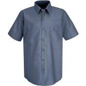 Red Kap® Men's Industrial Stripe Work Shirt Short Sleeve Gray/Blue Stripe Long-2XL SP24