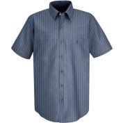 Red Kap® Men's Industrial Stripe Work Shirt Short Sleeve Gray/Blue Stripe Long-2XL SP24