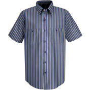 Red Kap® Men's Industrial Stripe Work Shirt Short Sleeve Navy/Khaki Stripe 3XL SP24