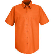Red Kap® Men's Industrial Work Shirt Short Sleeve Orange XL SP24