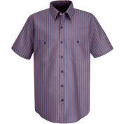 Red Kap® Men's Industrial Stripe Work Shirt Short Sleeve Navy/Red Stripe Long-XL SP24