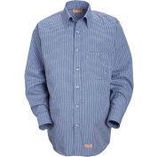 Red Kap® Men's Mini-Plaid Uniform Shirt Long Sleeve White/Blue M-345 SP74
