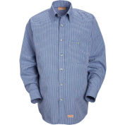 Red Kap® Men's Mini-Plaid Uniform Shirt Long Sleeve White/Blue 2XL-345 SP74