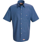 Red Kap® Men's Mini-Plaid Uniform Shirt Short Sleeve Gray/Blue M SP84