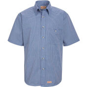 Red Kap® Men's Mini-Plaid Uniform Shirt Short Sleeve White/Blue XL SP84