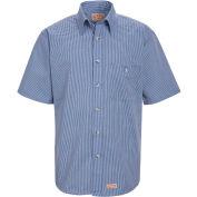 Red Kap® Men's Mini-Plaid Uniform Shirt Short Sleeve White/Blue 2XL SP84