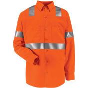 Red Kap® Hi-Vis Long Sleeve Work Shirt, Class 2, Fluorescent Orange, Polyester, Regular, M
